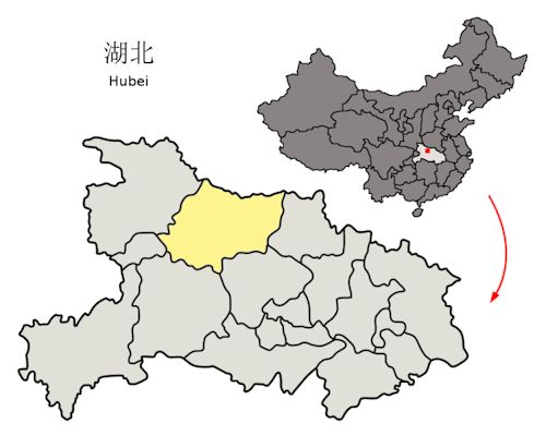 Xiangyang (Hubei) China  City pictures : Location of Xiangyang within Hubei Province and within China