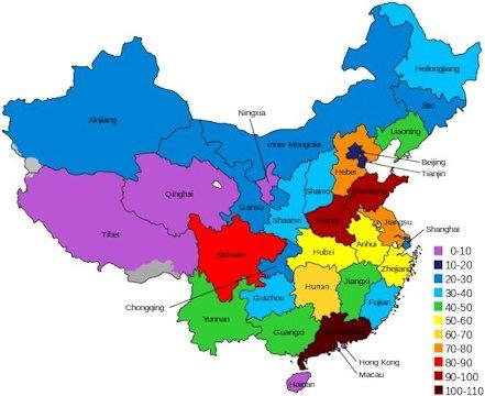 23 provinces in alphabetic order 23 provinces in population order 23