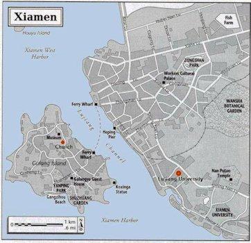 Map of Xiamen Fujian China