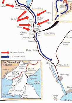 Korean War Maps Map of The Withdrawal to Hamhung North Korea