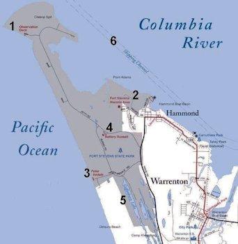 Map Of Columbia Jetty Near Astoria Oregon
